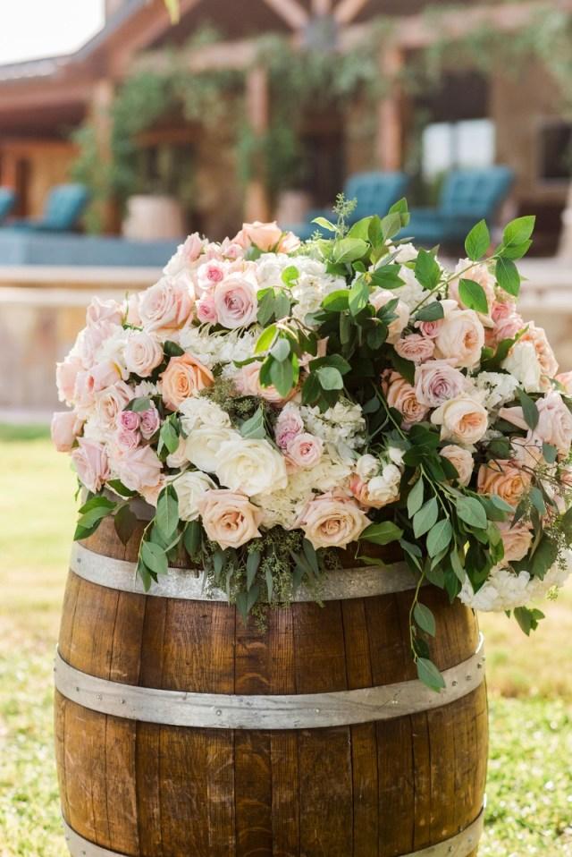 Barrell Wedding Decor Ceremony Dcor Photos Wood Barrel With Blush Ivory Flowers