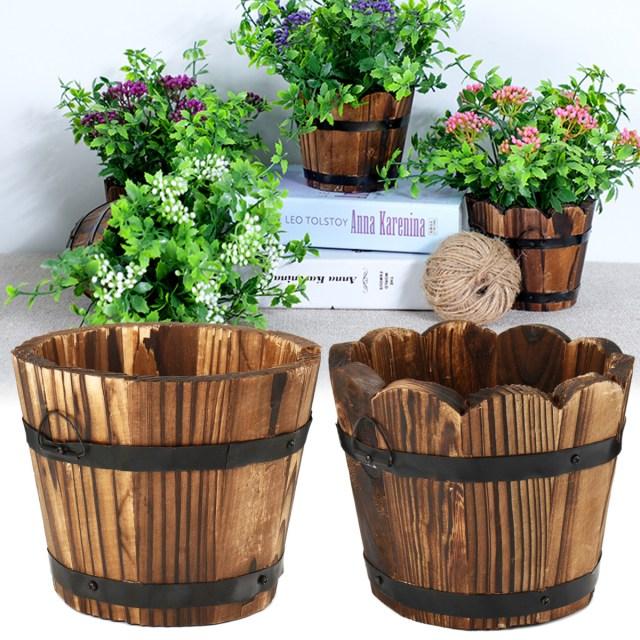 Barrell Wedding Decor Wooden Round Waves Barrel Planter Flower Pots Home Office Garden