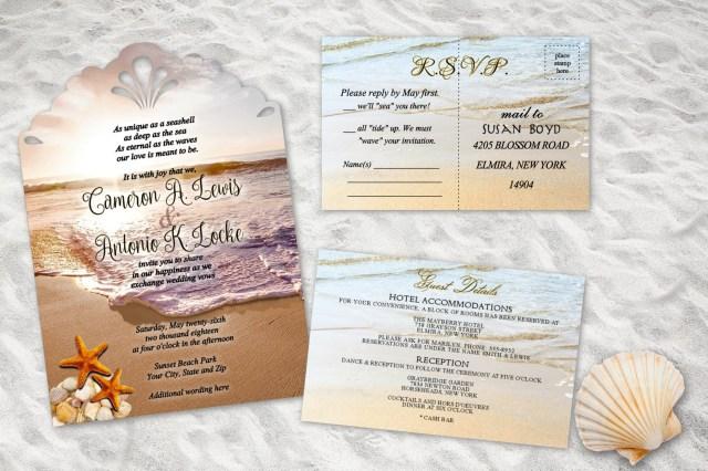 Beach Wedding Invites Beach Wedding Invitations Ocean Theme Destination Wedding Etsy
