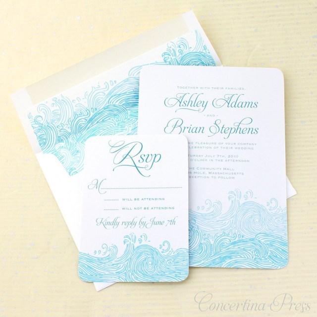Beach Wedding Invites Concertina Press Waves Beach Wedding Invitations