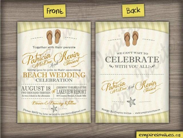 Beach Wedding Invites Custom Beach Wedding Invitations From Winnipeg Canada Empire Invites