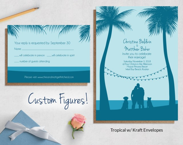 Beach Wedding Invites Custom Drawing Beach Wedding Invitations Wild Blue Weddings