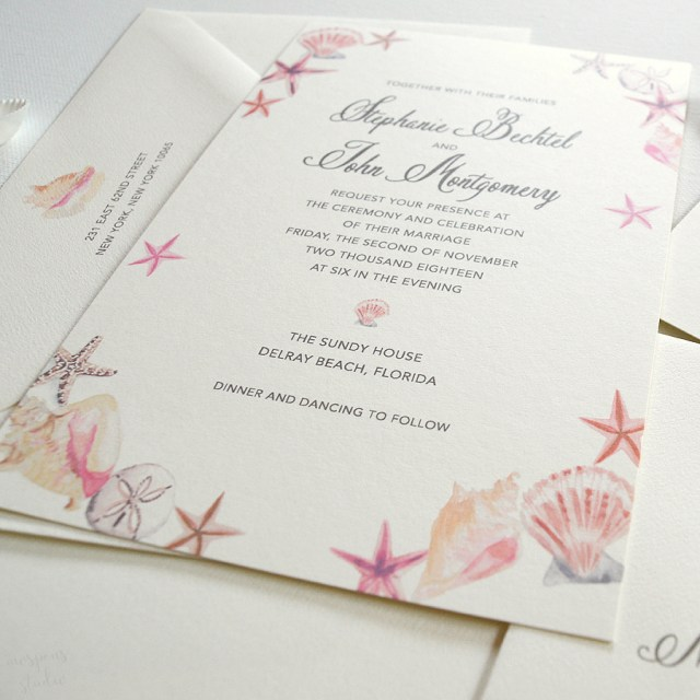 Beach Wedding Invites Seashell Beach Wedding Invitations Only At Mospens Studio