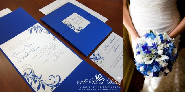 Blue And Silver Wedding Invitations Blue And Silver Wedding Invitation With Leaf Scroll Design 57
