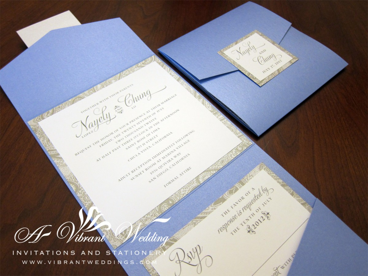 Blue And Silver Wedding Invitations Cornflower Blue Silver Wedding Invitation 55 Pocketfold Style