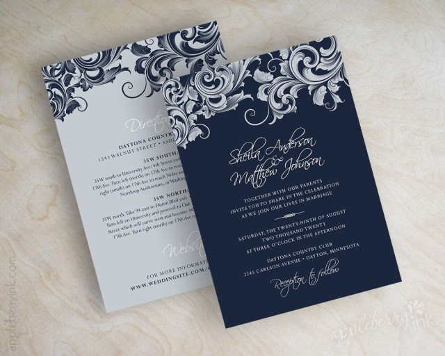 Blue And Silver Wedding Invitations Jora Navy Silver Wedding Invitations Projects To Try Wedding