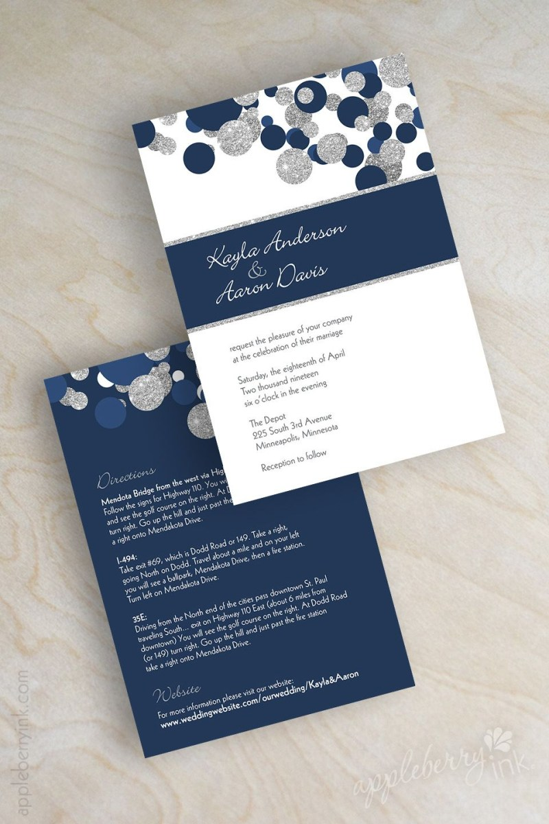 Blue And Silver Wedding Invitations Navy Blue And Silver Glitter Polka Dot Wedding Invitations Midnight