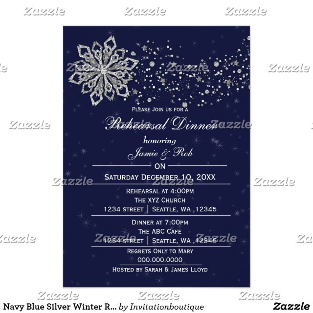 Blue And Silver Wedding Invitations Navy Blue Silver Winter Rehearsal Dinner Invite Wedding Bridal