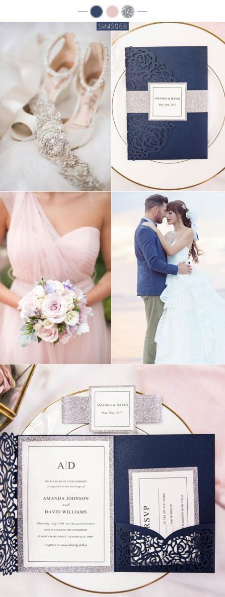 Blue And Silver Wedding Invitations Navy Blue Weddings Stylish Wedd Blog