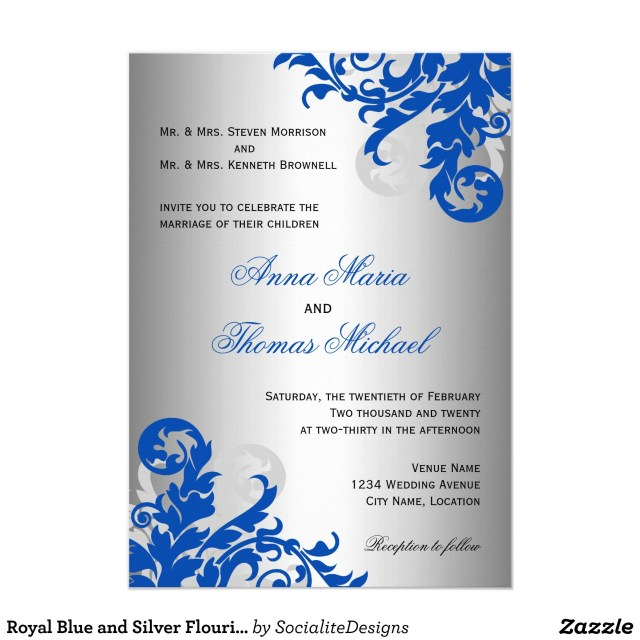 Blue And Silver Wedding Invitations Royal Blue And Silver Flourish Wedding Invitation Wedding Ideas