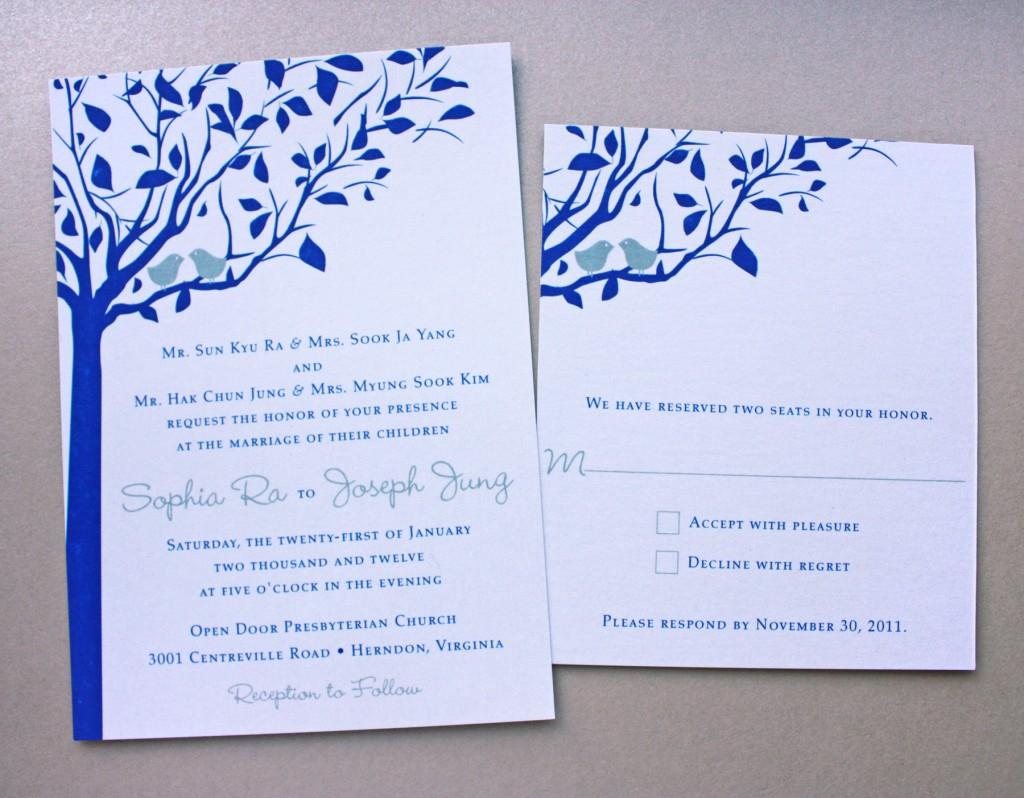 Blue And Silver Wedding Invitations Royal Blue Silver Love Birds In A Tree Metallic Wedding