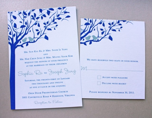 Blue And Silver Wedding Invitations Royal Blue Silver Love Birds In A Tree Metallic Wedding