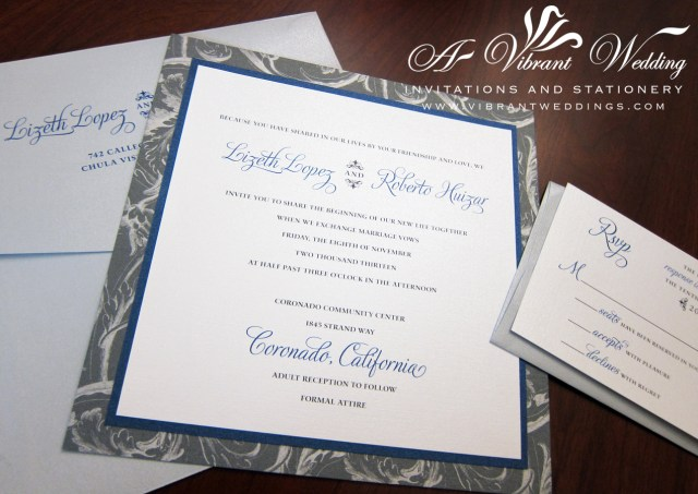 Blue And Silver Wedding Invitations Silver And Navy Blue Wedding Invitation A Vibrant Wedding Invitations