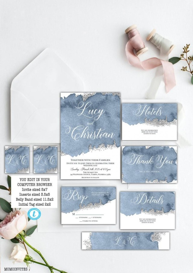 Blue And Silver Wedding Invitations Steal Blue Grey Watercolor Wedding Invitation Set Template