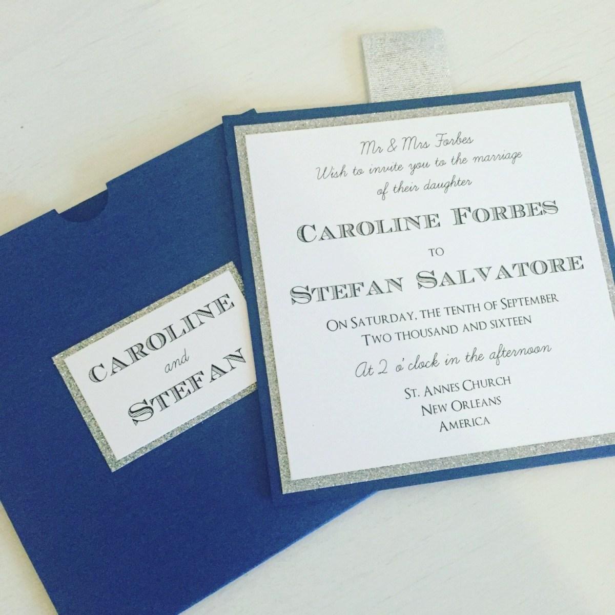Blue And Silver Wedding Invitations The Caroline Stefan Wallet Glitter Wedding Etsy