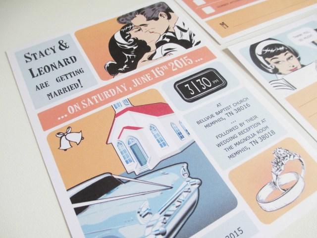 Book Wedding Invitations Vanillaretro Stationery Comic Book Wedding Orange And Blue
