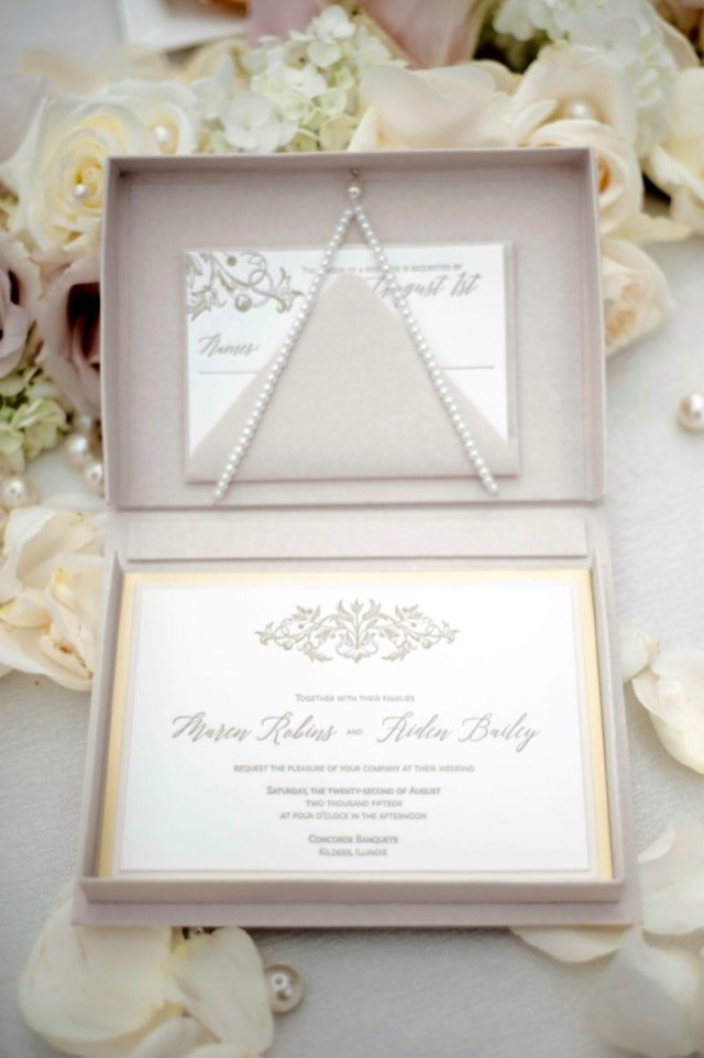 Box Wedding Invitations Luxury Letterpress Boxed Invitations In Blush And Gold Custom