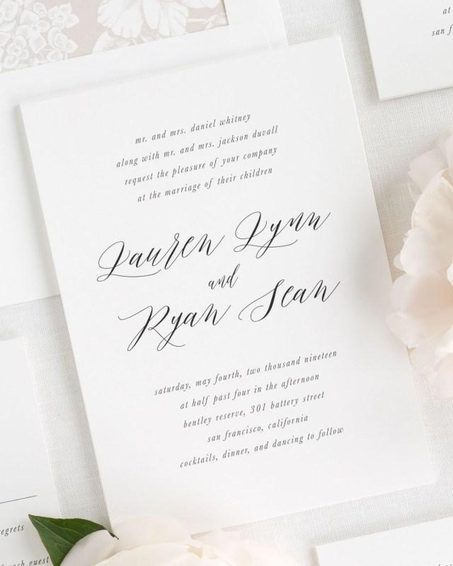 Calligraphy Wedding Invitations Modern Calligraphy Wedding Invitations With A Floral Envelope Liner