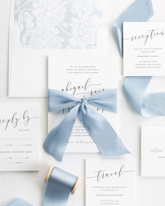 Calligraphy Wedding Invitations Romantic Calligraphy Ribbon Wedding Invitations Wedding Invitation