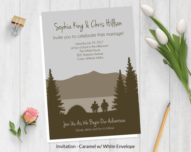 Camping Wedding Invitations Camping Wedding Invitations Wild Blue Weddings
