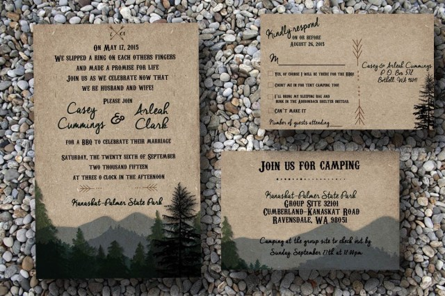 Camping Wedding Invitations Custom Woodsy Wedding Invitation With Pine Trees And Mountains
