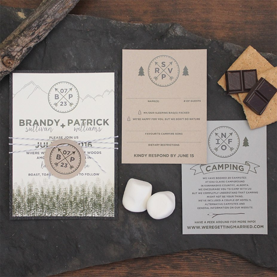 Camping Wedding Invitations Mountain Wedding Invitations Beautiful Rustic Mountain Camping