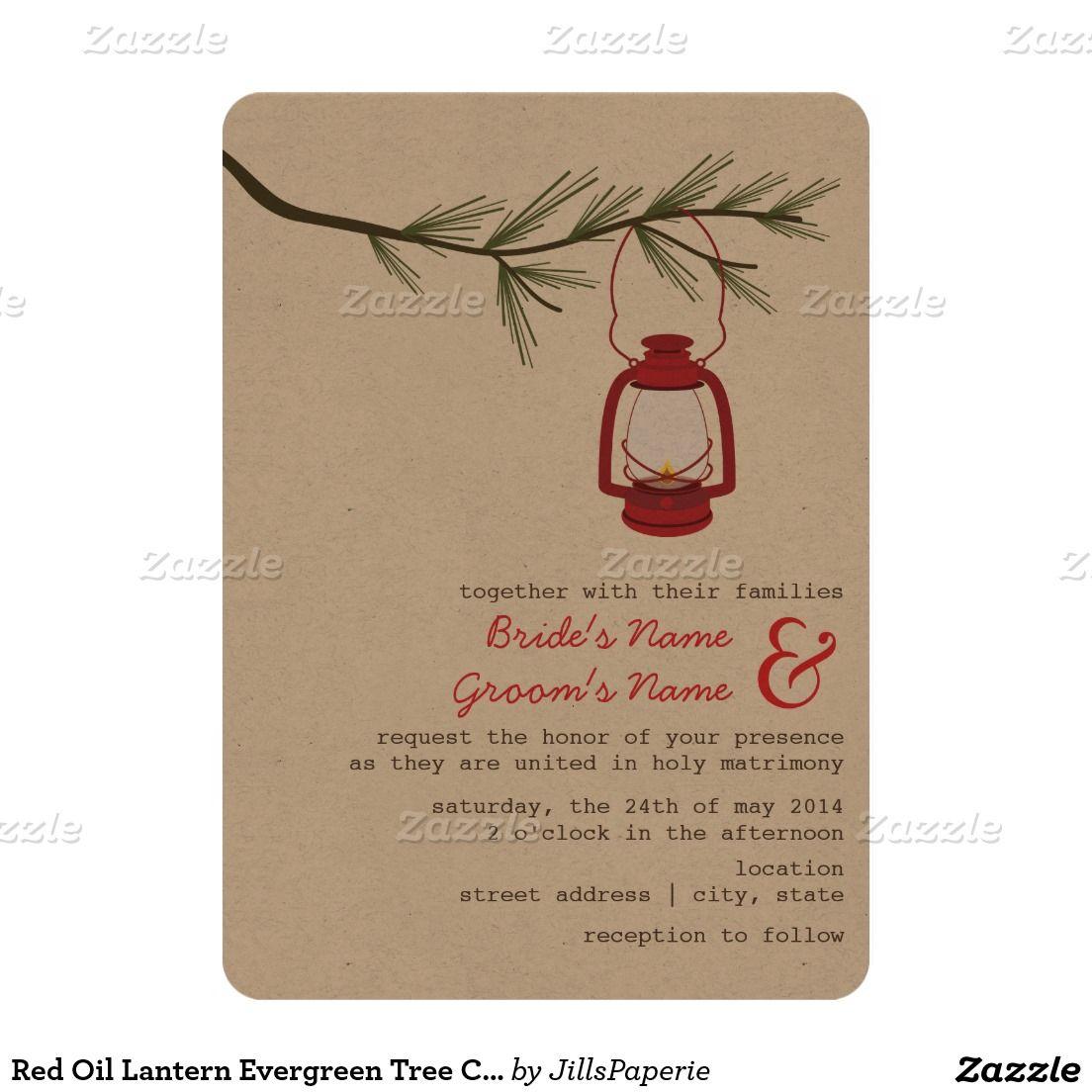 Camping Wedding Invitations Red Oil Lantern Evergreen Tree Camping Wedding Invitation In 2018