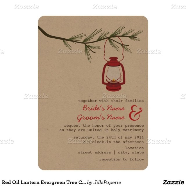 Camping Wedding Invitations Red Oil Lantern Evergreen Tree Camping Wedding Invitation In 2018