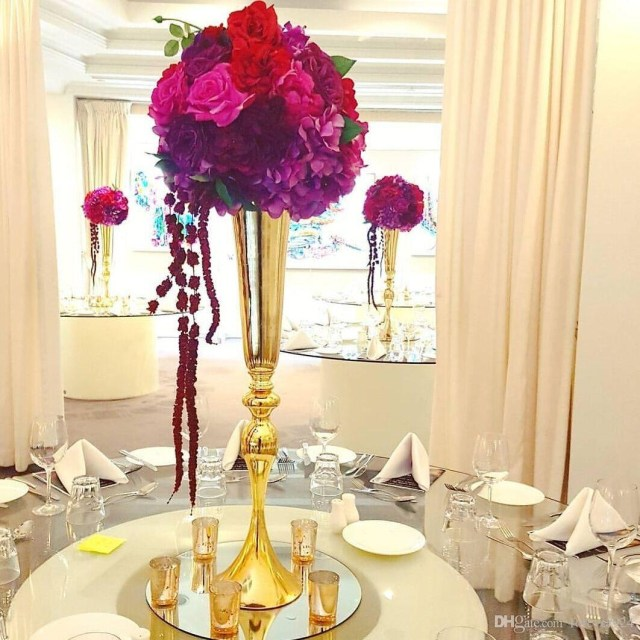 Centerpieces For Wedding Hot Sell Tall Gold Slim Metal Flower Vase Trumpet Vases