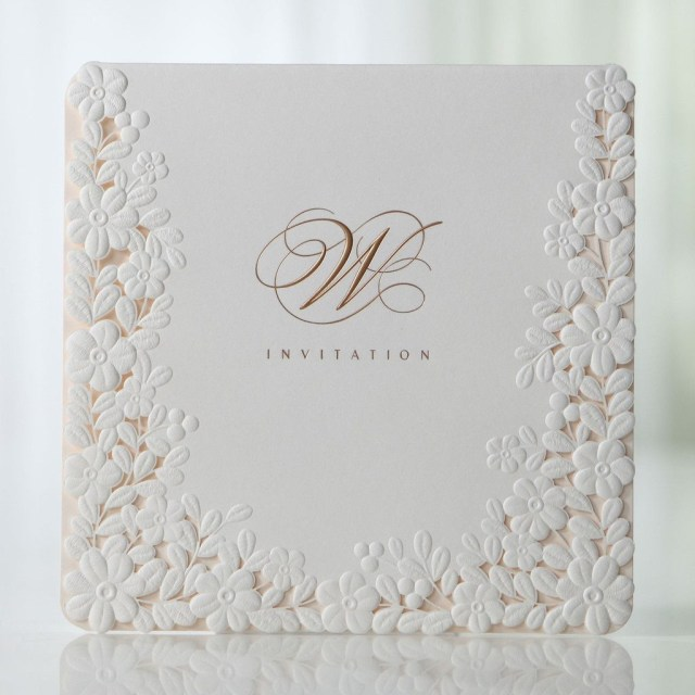 Cheap Invitations Wedding Ivory Pink Embossed Laser Cut Floral Wedding Invitations Bh 3301