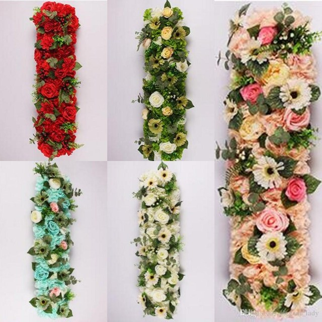 Christmas Wedding Decor 25100cm Flower Wedding Road Lead Flowers Long Table Centerpieces Flower Arch Door Lintel Silk Rose Wedding Party Backdrops Decoration