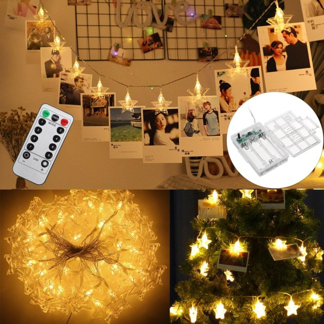 Christmas Wedding Decor 6m 8 Modes Battery Power Remote Control 40 Led Photo Clips Star String Light Christmas Wedding Decor