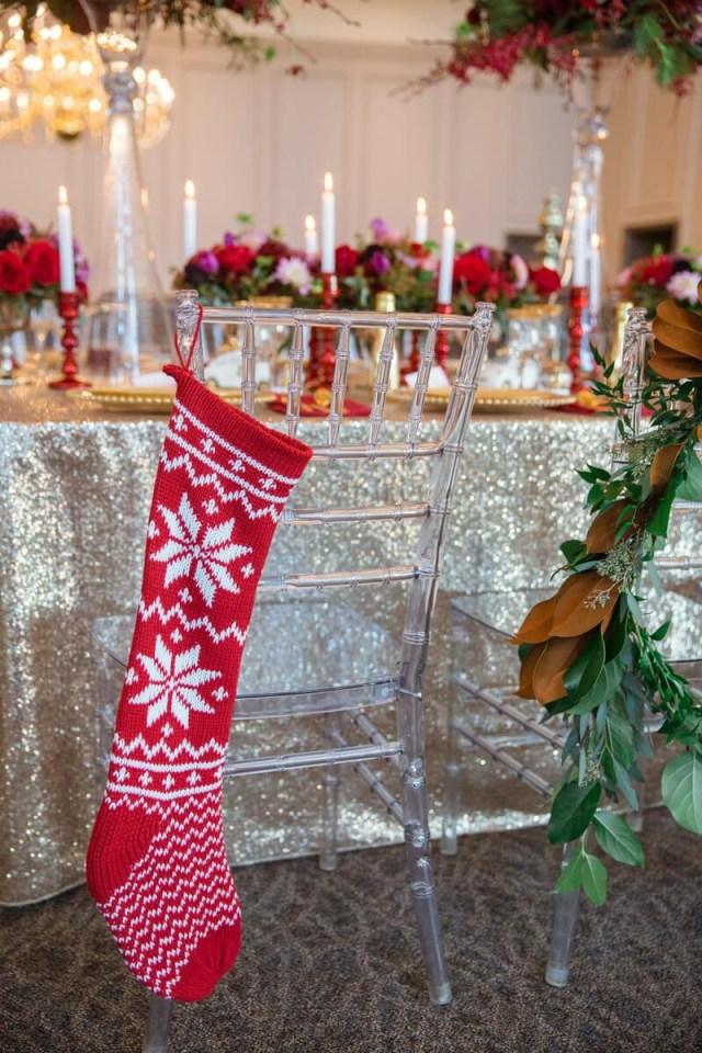 Christmas Wedding Ideas Bold Vibrant Christmas Wedding Ideas Stocking Hanging Chair Decor