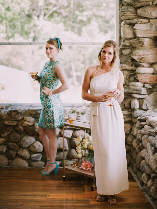 Cocktail Party Wedding Cheers Vintage 60s Cocktail Party Wedding Inspiration Green