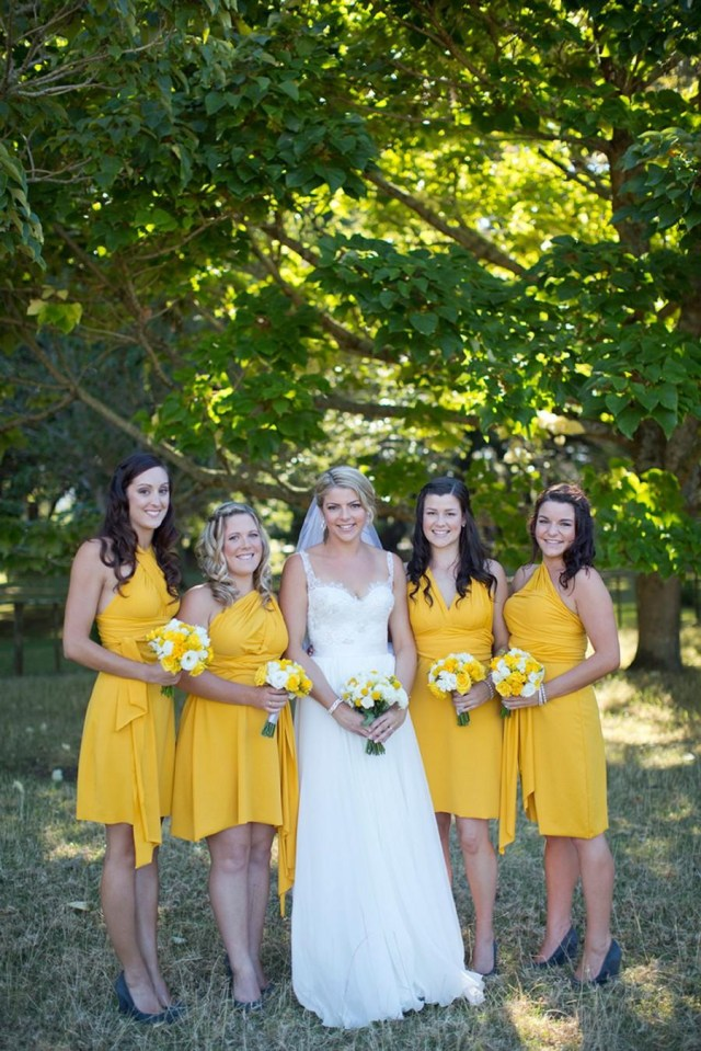 Cocktail Party Wedding Golden Yellow Athletic Yellow Bridesmaids Convertible Wrap Twist