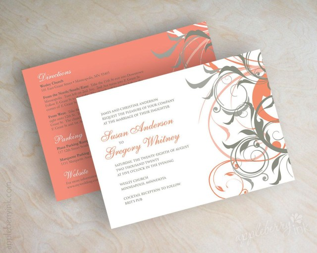 Coral And Grey Wedding Invitations Coral And Gray Wedding Invitations Coral And Grey Wedding