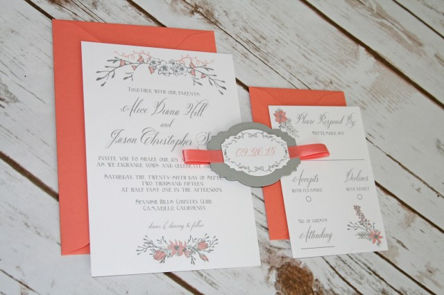 Coral And Grey Wedding Invitations Coral And Grey Wedding Invitations Coral And Grey Wedding