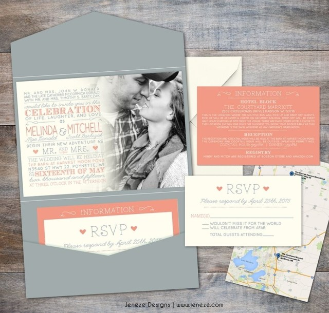 Coral And Grey Wedding Invitations Coral And Grey Wedding Invitations Wedding Pinterest Grey