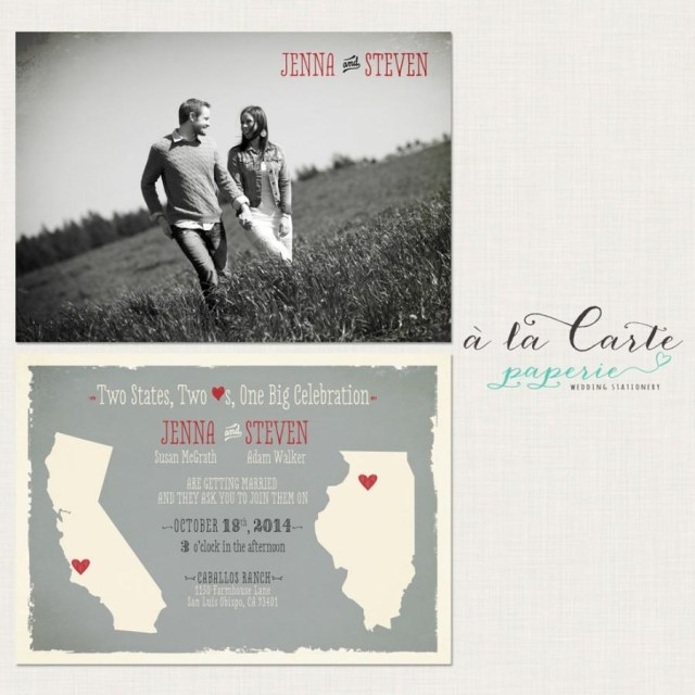 Coral And Grey Wedding Invitations Destination Wedding Invitation Two States Two Hearts One Big