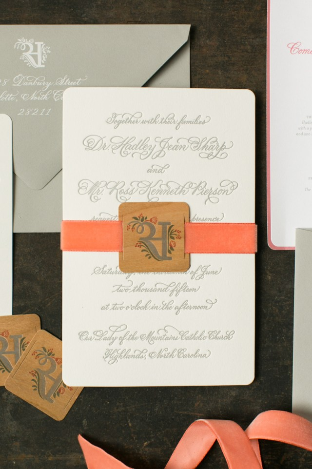 Coral And Grey Wedding Invitations Elegant Rustic Coral Wedding Invitations