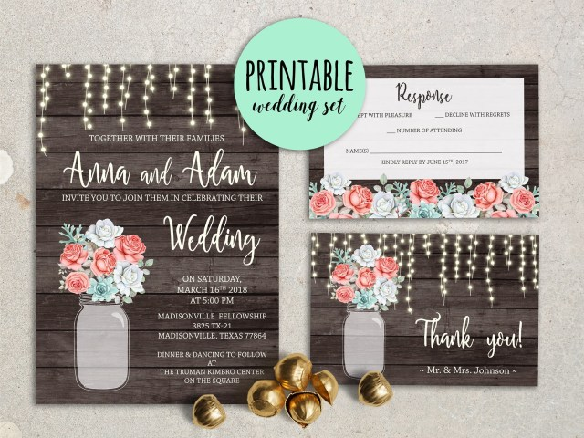 Coral And Grey Wedding Invitations Floral Wedding Invitation Rustic Wedding Invitation Mint Coral Etsy