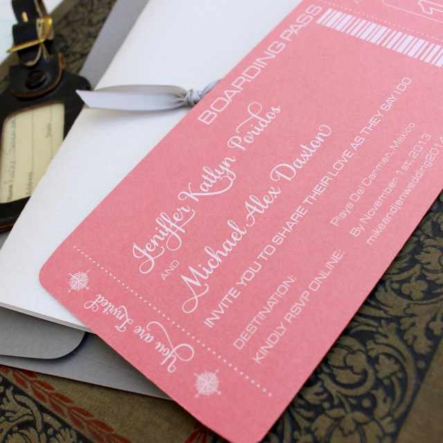 Coral And Grey Wedding Invitations Modern Boarding Pass Wedding Invitation White Ink And Coral