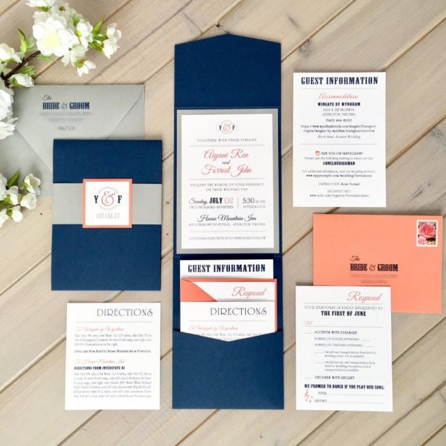Coral And Grey Wedding Invitations Navy Gray And Coral Wedding Invitations Modern Wedding Invitations