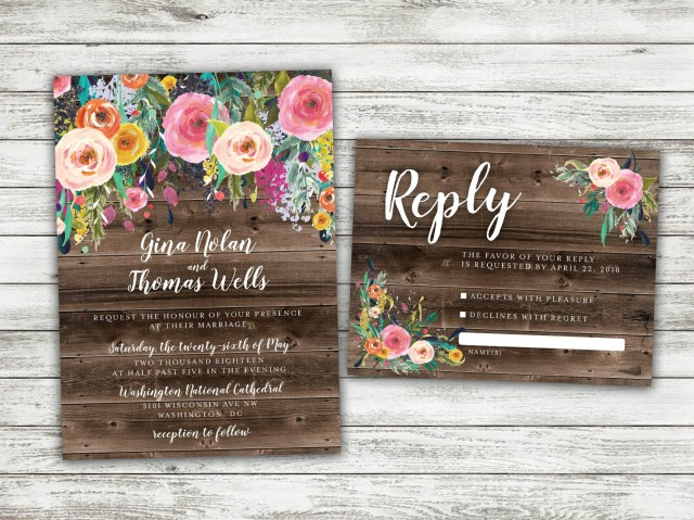 Country Chic Wedding Invitations Boho Country Wedding Invitation Rustic Floral Wedding Invitation