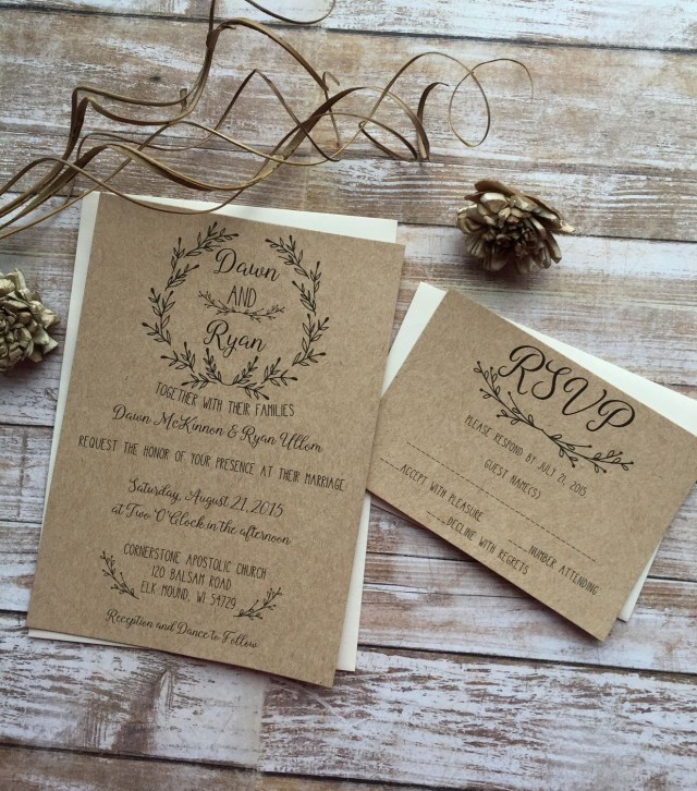 Country Chic Wedding Invitations Rustic Wedding Invitation Laurel Wedding Invitation Shab Chic