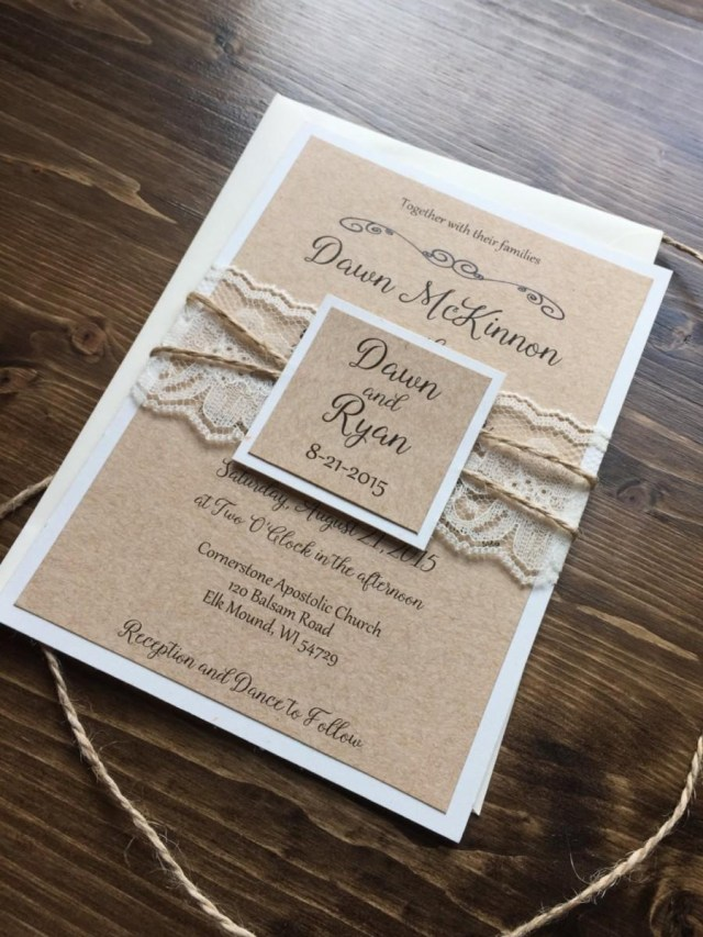 Country Chic Wedding Invitations Rustic Wedding Invitation Vintage Wedding Invitation Lace Wedding