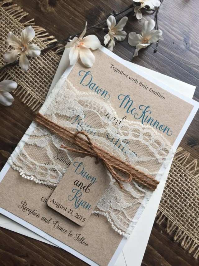 Country Chic Wedding Invitations Rustic Wedding Invitation Vintage Wedding Invitation Shab Chic