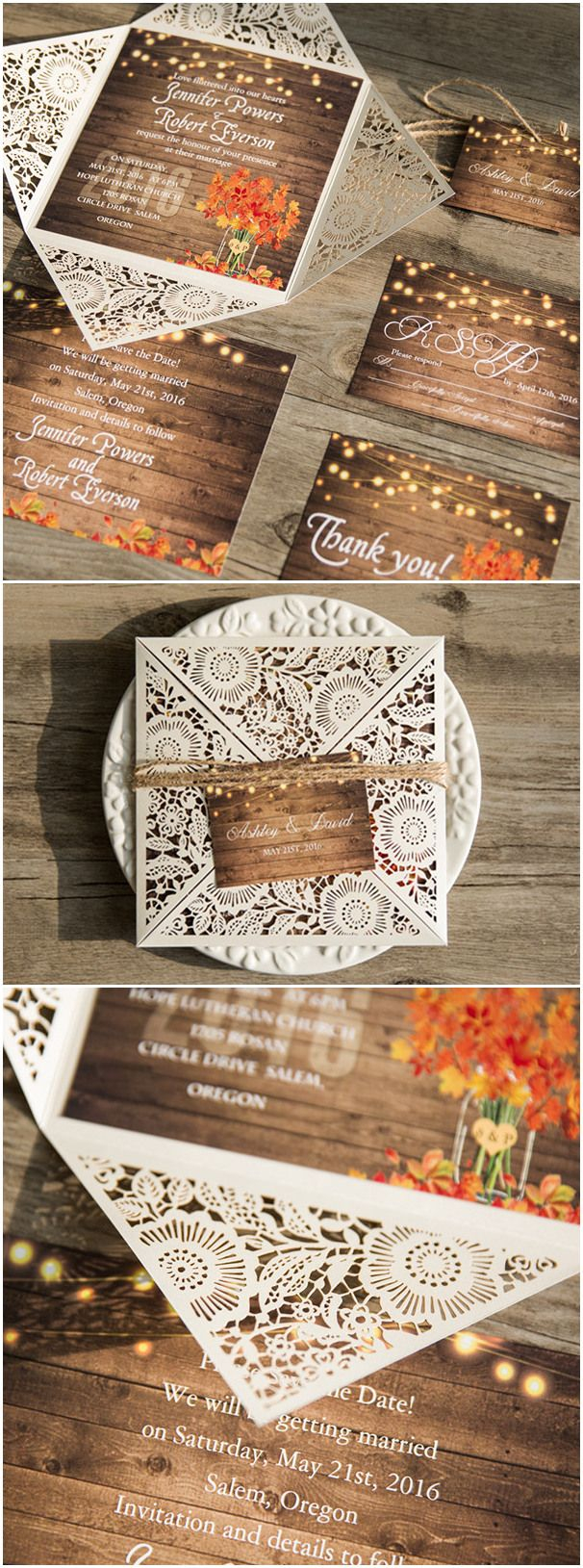 Country Rustic Wedding Invitations Rustic Stringlights Maple Leaf Laser Cut Wedding Invitations With