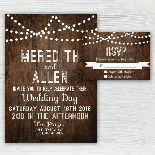 Country Themed Wedding Invitations Rustic Wood Wedding Invitation Country Wedding Invitation String