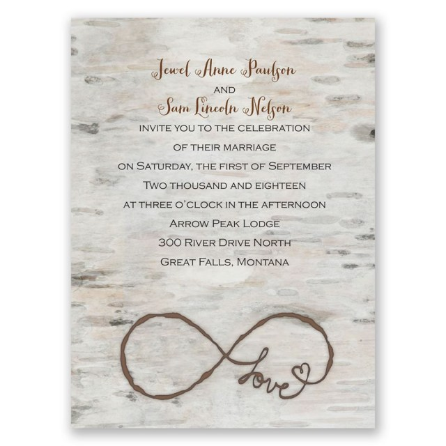 Country Wedding Invitation Wording Love For Infinity Petite Invitation Invitations Dawn